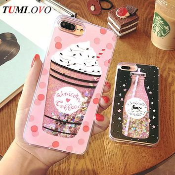 Cute Drink Bottle Ice Cream Heart Glitter Star Dynamic Liquid Quicksand Soft TPU Phone Back Cover Case For iPhone 6 6S 7 Plus