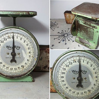 Green Scale Way Rite Scale Kitchen Scale Vintage Scale Rustic Scale Shabby Decor Chippy Scale Green Chippy Decor Rustic Decor Green Kitchen