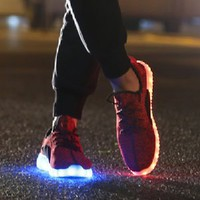 JustCreat 7 Colors LED Luminous Unisex Sneakers Men & Women USB Charging Light Colorful Glowing Leisure Flat Shoes Sprot Shoes,Red,7 D(M) US