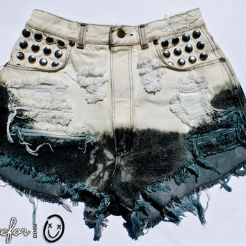 bleached cream and greyteal ombre / vintage denim by todyefordenim