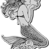 "cling rubber stamp mermaid - 4.1"" x 2.6"""