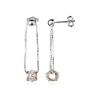SILVER 925 BEAD DANGLE HAWAIIAN PLUMERIA TUBE EARRINGS ROSE GOLD PLATED