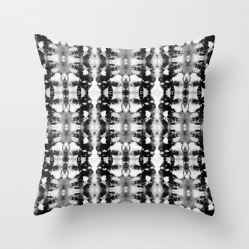 Tie-Dye Blacks & Whites Throw Pillow by ninamay