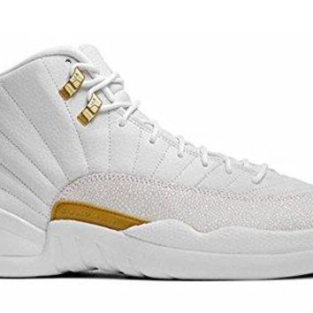 Men's Breathable Leather OVO Basketball Sneakers XII Lace-up Air-sole Heel Air Jordan 12 Waterproof Split-Grain Leather Upper White/Gold 456985-090 Hipster Retro Shoe