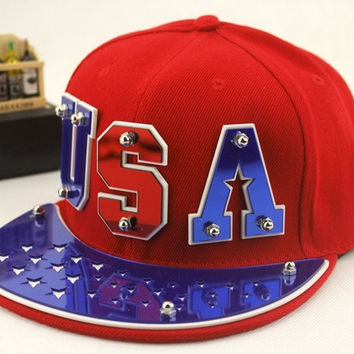 Fashion Men's Women's Unisex Snapbacks Hats Usa Punk Hip Hop Cap Flat Brim Baseballs Spike Rivet Hat