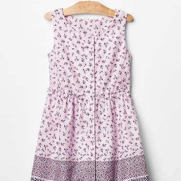 Gap Girls Floral Stripe Border Dress