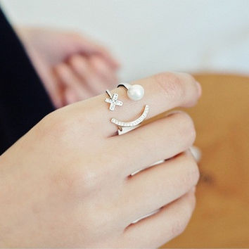 Gift Shiny New Arrival Stylish Jewelry Korean Design Pearls Ring [6586097927]