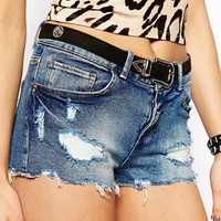 ASOS TALL Low Rise Denim Shorts in Pretty Wash