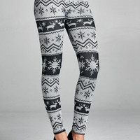 Nordic Print Fleece Lined Legging - Black