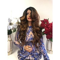 """Brown Blond Balayage Ombre SWISS Lace Wig 22"""" 1218"""