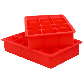 Evelots Premium 15 Cube Silicone Ice Tray, 2 Piece Set, Makes 30 Ice Cubes