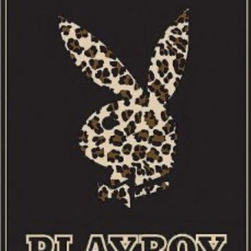 "Playboy Bunny Leopard High Pile Thick Fleece Throw Blanket 50"" x 60"" Genuine Licensed"