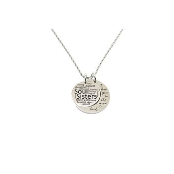 Love you to the moon double pendant necklace - Soul Sisters
