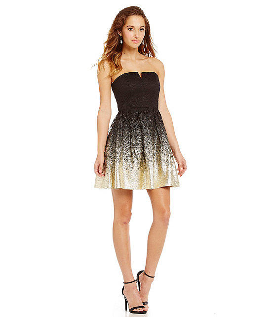 B. Darlin Strapless Foil Lace Party Dress from Dillard\'s | The