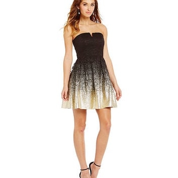 B. Darlin Strapless Foil Lace Party Dress