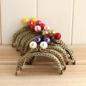 Small Beads Vintage knurling 8.5CM antique brass semicircle arc-shaped Colorful Metal Purse frame Kiss Clasp DIY Coin Purse 5pcs