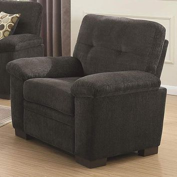 Transitional Micro Velvet Fabric/Wood Chair With Cushioned Armrest, Dark Gray