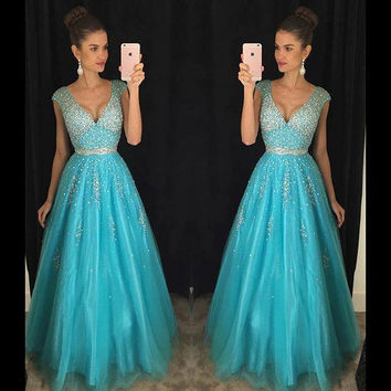 Sexy Turquoise Tulle Long Prom Dresses 2016 Deep V Neck Fully Beaded Crystals Sparkly Teens Evening Party Gowns vestido de festa