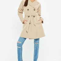 Missguided - Stone Classic A Line Belted Trench Coat