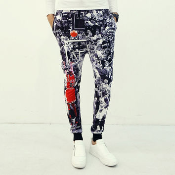 Men Pants 3D Print Sportswear Men's Fashion Skinny Pants [6544569603]