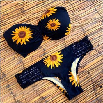 Swimsuit Biquini Women Bikini Padded Bra Fashion Swimwear Sunflower Pattern Bikini Bathing