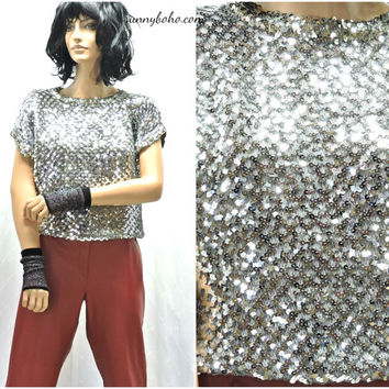 Vintage 70s silver sequined top S / M / L 1970s disco party silver sequin stretch blouse shiny metallic silver top  SunnyBohoVintage