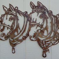 Draft Horse Heads Metal Wall Art Country Rustic Home Decor