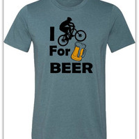 Bicycle T-Shirt -I Bike for Beer-Mountain Bike Shirt in Heather Blue