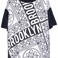 "ROMWE ""BROOKLYN"" Print Short-sleeved Black T-shirt"
