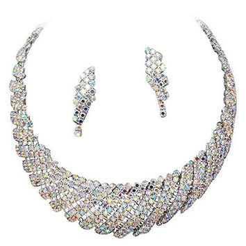 Retro Vintage Sparkly Rhinestone Bridal Necklace and Earring Set Silver Tone