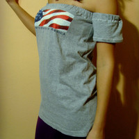 Upcycled Clothing American USA Flag July 4th Patriot Tshirt Top Tunic One of a kind Ready to Ship By Cvetinka