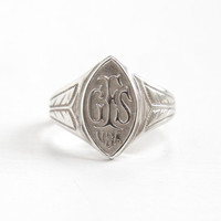 Vintage GFS Girls' Friendly Society USA Sterling Silver Ring - Size 5 1/2 Philanthropic Organization Membership Ring Jewelry