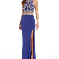 Coya Collection High Neck Beaded Illusion Bodice Faux Two-Piece Long Dress | Dillards