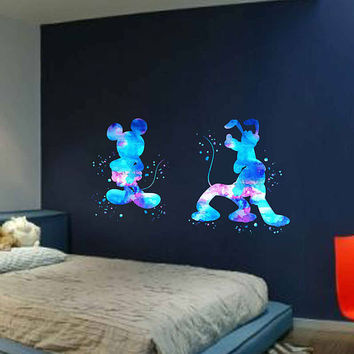 kcik1954 Full Color Wall decal Watercolor Pluto Mickey Mouse Character Disney children's room Sticker Disney