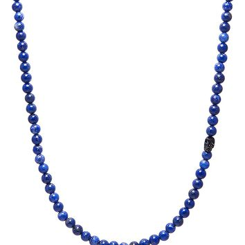 Men's Beaded Necklace with Blue Lapis and Black Skull