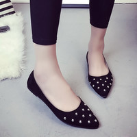 Women fashion pointed toe causal flat shoes cool rivet gray lady slip on flat spring and autumn