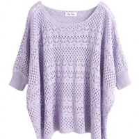 Acrylic Purple Ultra-Thin Hollow Bat Short-Sleeved Round Neck Sweater ( color) style 1631009-Purple in Sweaters - Tops Indressme