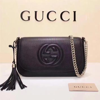 Gucci Women's New Style Leather Tassel Chain Shoulder Bag #34941 - Best Deal Online