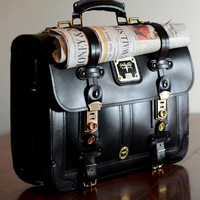 Business Briefcase - Black Latigo Leather