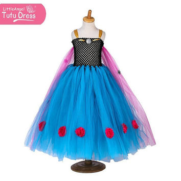 Handmade Frozen Princess Anna Dress - Beautifully Custom Made - Blue Purple Dress Age 3 4 5 6 7 8 9