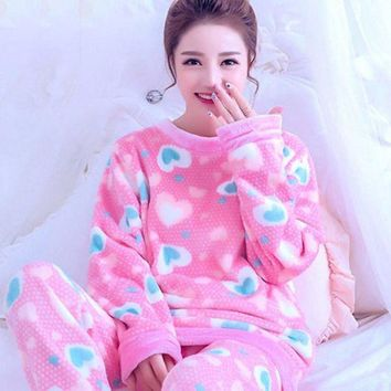DCCKU62 Autumn Winter Women Pajamas Coral Fleece Sleepwear Warm Bathrobe Nightgowns Kimono Pyjamas