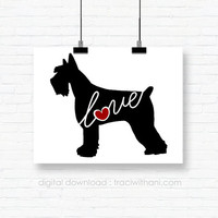 INSTANT DOWNLOAD: Giant Schnauzer Love - an original digital silhouette for wall-art / clip art / t-shirt transfers / iron ons and more