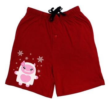 Cute Abominable Snowman Girl Yeti - Christmas Adult Lounge Shorts - Red or Black by TooLoud