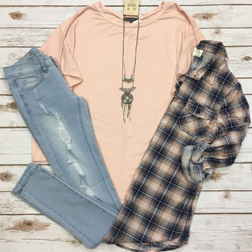 Long Sleeve Dolman: Blush