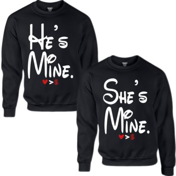 HE'S MINE SHE'S MINE COUPLE SWEATSHIRT