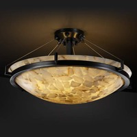 Justice Design Group ALR-9682-35-DBRZ Alabaster Rocks! 24-Inch Round Semi-Flush Bowl Pendant with Dark Bronze Ring - (In Dark Bronze)