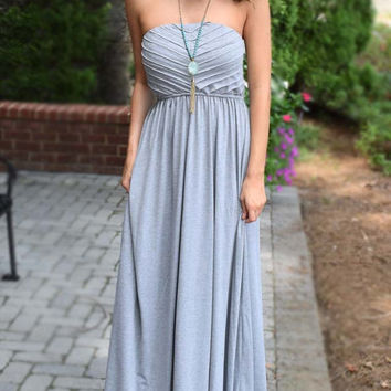 Chic in Grey Strapless Maxi Dress