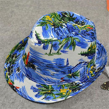 Men Women Hawaiian Style Print Jazz Cap Small Panama Hat Bucket Hat