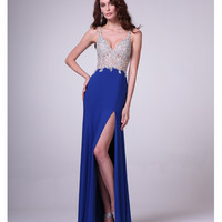 Royal & Nude Embellished High Slit Dress 2015 Prom Dresses