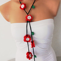 Red and White Hand Crochet Flowers Lariat Scarf by fairstore